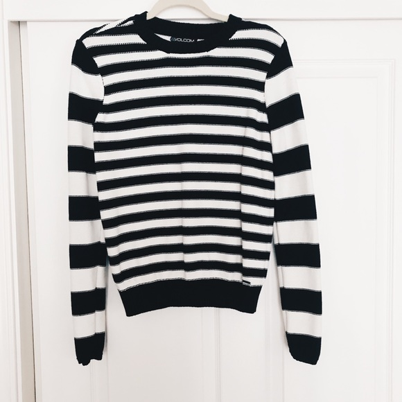 Volcom Sweaters Womens Black White Striped Sweater Poshmark
